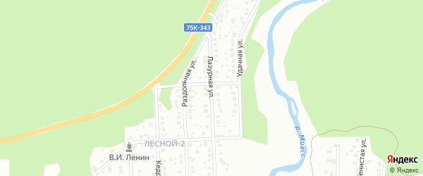 Лазурная улица на карте Миасса с номерами домов