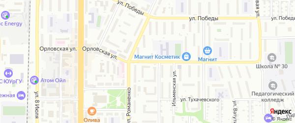 Орловская улица на карте Миасса с номерами домов