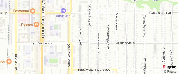 Улица Островского на карте Миасса с номерами домов