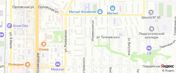 Улица Тухачевского на карте Миасса с номерами домов