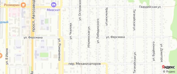 Улица Ферсмана на карте Миасса с номерами домов