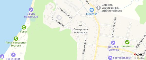 Малая Курортная улица на карте поселка Тургояка с номерами домов