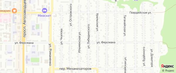 Улица Либединского на карте Миасса с номерами домов