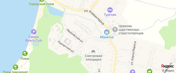 Ивановский переулок на карте поселка Тургояка с номерами домов