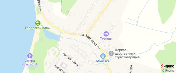 Улица Коминтерна на карте поселка Тургояка с номерами домов