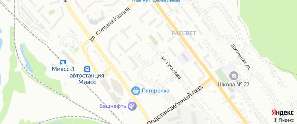 Нечетный переулок на карте Миасса с номерами домов