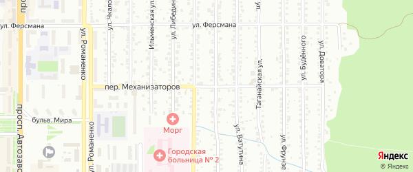 Переулок Механизаторов на карте Миасса с номерами домов