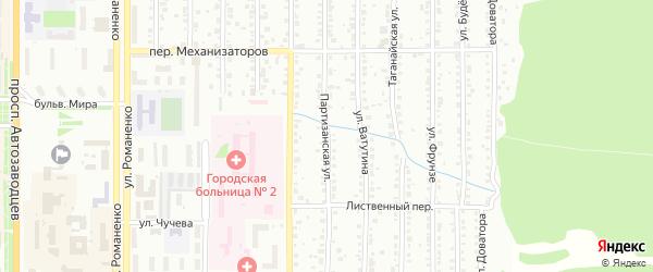 Партизанская улица на карте Миасса с номерами домов