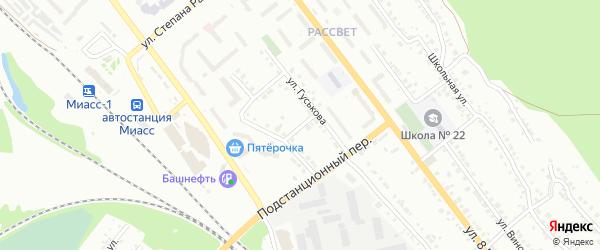 Проводниковый переулок на карте Миасса с номерами домов