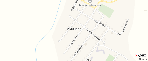 Школьный переулок на карте села Аминево с номерами домов