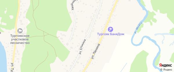 Улица Елькина на карте поселка Тургояка с номерами домов