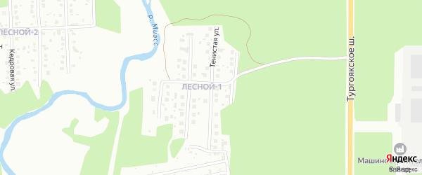 Тенистая улица на карте Миасса с номерами домов