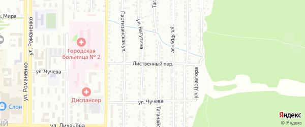 Лиственный переулок на карте Миасса с номерами домов