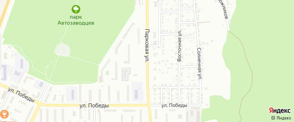 Парковая улица на карте Миасса с номерами домов