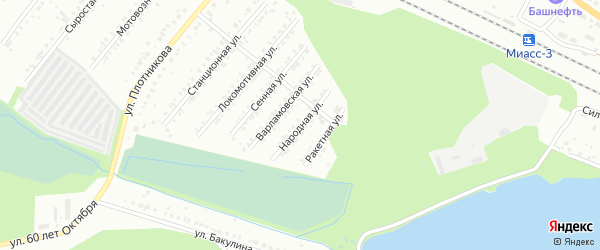 Народная улица на карте Миасса с номерами домов
