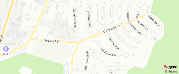 Садовая улица на карте Красного поселка с номерами домов