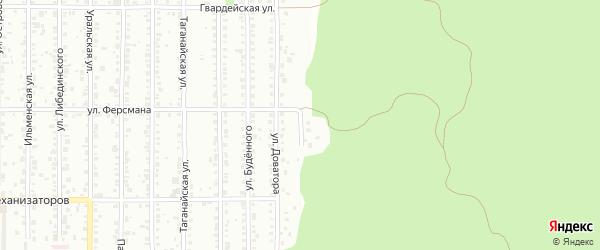 Обзорная улица на карте Миасса с номерами домов