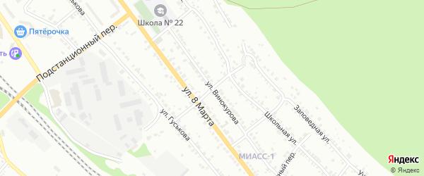 Элеваторный переулок на карте Миасса с номерами домов