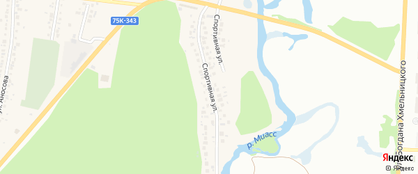 Спортивная улица на карте поселка Тургояка с номерами домов