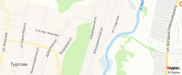 Карабашская улица на карте поселка Тургояка с номерами домов