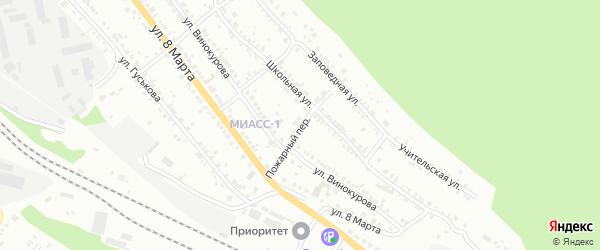 Пожарный переулок на карте Миасса с номерами домов