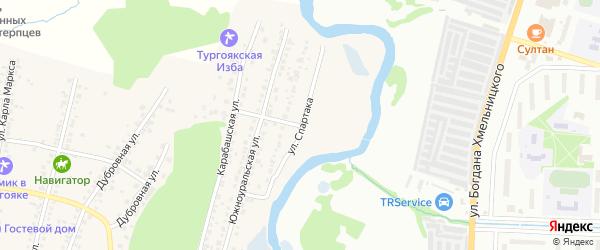 Улица Спартака на карте поселка Тургояка с номерами домов