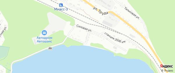 Силовой переулок на карте Миасса с номерами домов