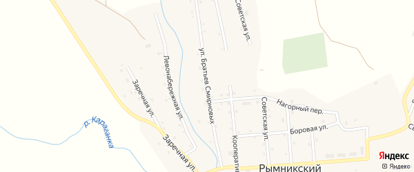 Улица Братьев Смирновых на карте Рымникского поселка с номерами домов