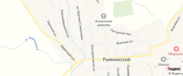 Кооперативная улица на карте Рымникского поселка с номерами домов