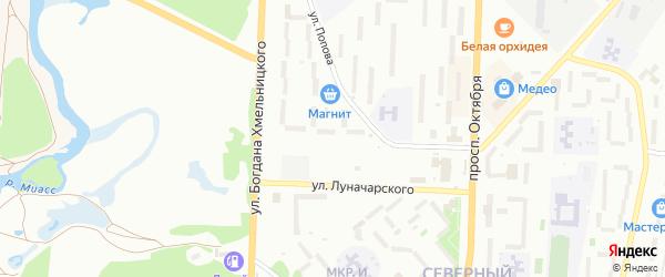 Бульвар Полетаева на карте Миасса с номерами домов