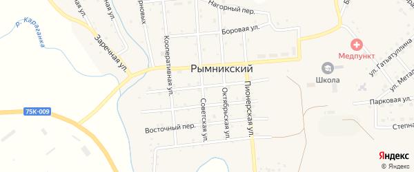 Солнечный переулок на карте Рымникского поселка с номерами домов