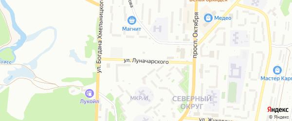 Улица Луначарского на карте Миасса с номерами домов