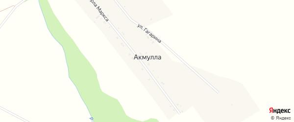 Улица Гагарина на карте поселка Акмуллы с номерами домов