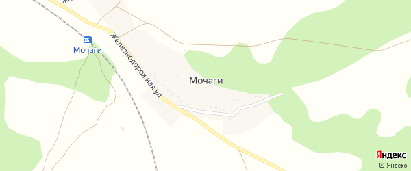 Зеленая улица на карте поселка Мочаги с номерами домов