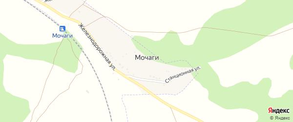 Железнодорожная улица на карте поселка Мочаги с номерами домов