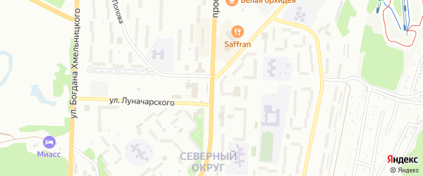 Проспект Октября на карте Миасса с номерами домов