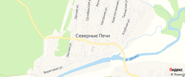 Клубная улица на карте поселка Северные Печи с номерами домов