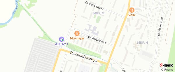 Улица Высоцкого на карте Миасса с номерами домов
