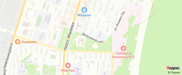 Дворцовый переулок на карте Миасса с номерами домов
