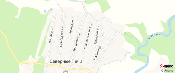 Красноглинная улица на карте поселка Северные Печи с номерами домов