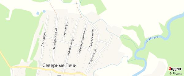 Таловская улица на карте поселка Северные Печи с номерами домов