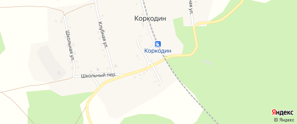 Улица Железнодорожников на карте поселка Коркодина с номерами домов