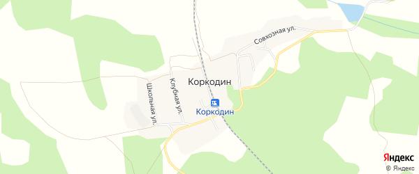 Карта поселка Коркодина города Верхнего Уфалея в Челябинской области с улицами и номерами домов