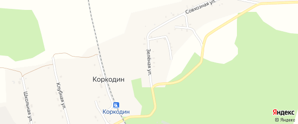 Зеленая улица на карте поселка Коркодина с номерами домов