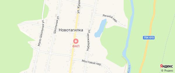 Набережная улица на карте поселка Новотагилки с номерами домов