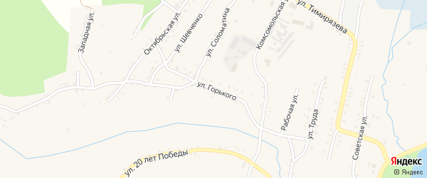 Улица Горького на карте Карабаша с номерами домов