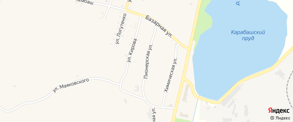 Пионерская улица на карте Карабаша с номерами домов