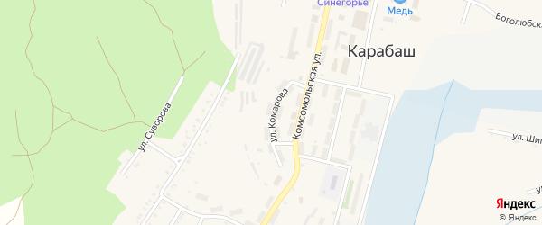 Улица Комарова на карте Карабаша с номерами домов