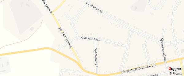 Красный переулок на карте Верхнего Уфалея с номерами домов