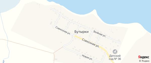Новый переулок на карте деревни Бутырки с номерами домов